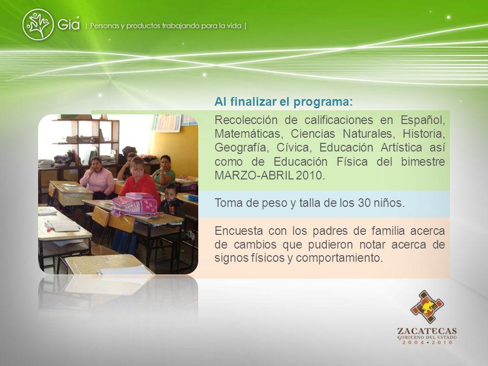 Recolección de calificaciones en Español, Matemáticas, Ciencias Naturales, Historia, Geografía, Cívica, Educación Artística así como de Educación Físi