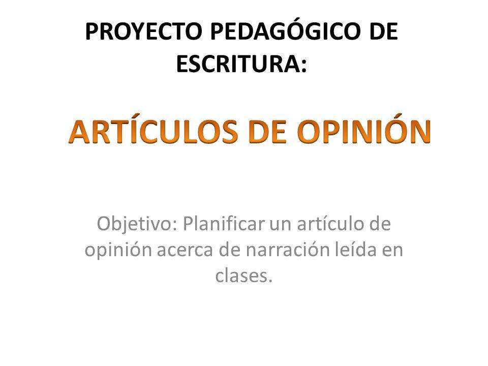 PROYECTO PEDAGÓGICO DE ESCRITURA: Objetivo: Planificar un artículo de opinión acerca de narración leída en clases.