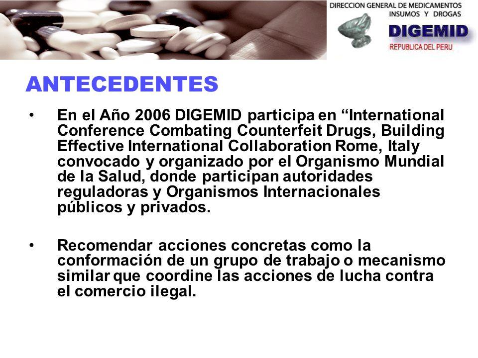 En el año 2005 DIGEMID participó en el Gt/Combate a la Falsificación de Medicamentos en la IV Conferencia Panamericana para la Armonización de la Regl