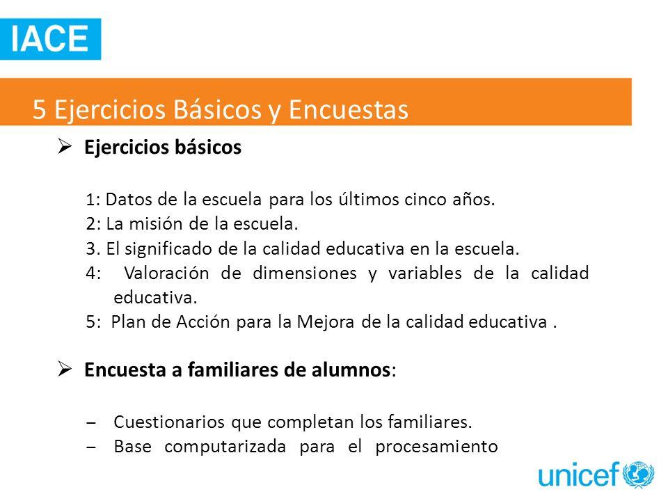 Ejercicios básicos 1 : Datos de la escuela para los últimos cinco años. 2: La misión de la escuela. 3. El significado de la calidad educativa en la es