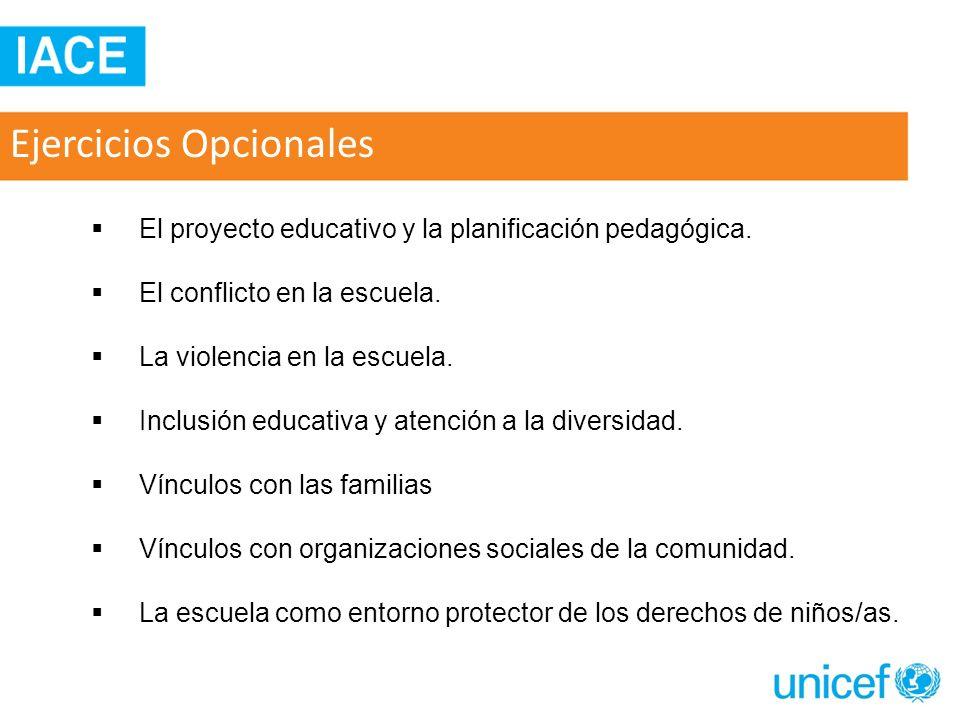 Ejercicios Opcionales El proyecto educativo y la planificación pedagógica. El conflicto en la escuela. La violencia en la escuela. Inclusión educativa