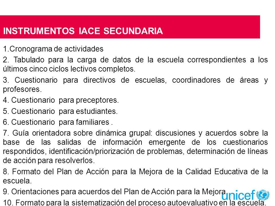 INSTRUMENTOS IACE SECUNDARIA 1.Cronograma de actividades 2. Tabulado para la carga de datos de la escuela correspondientes a los últimos cinco ciclos