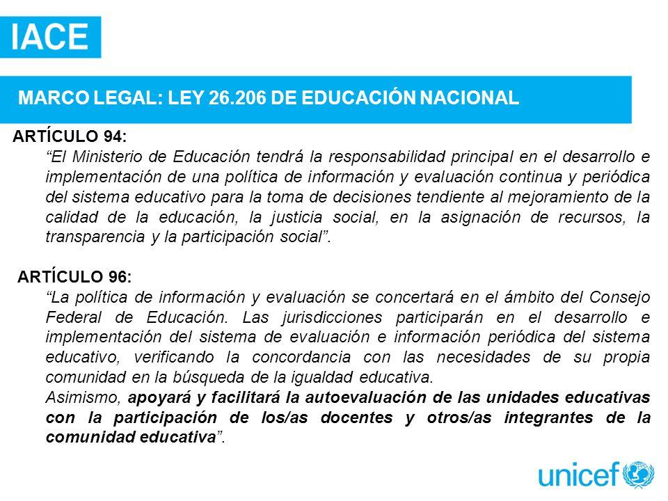 MARCO LEGAL: LEY 26.206 DE EDUCACIÓN NACIONAL ARTÍCULO 94: El Ministerio de Educación tendrá la responsabilidad principal en el desarrollo e implement