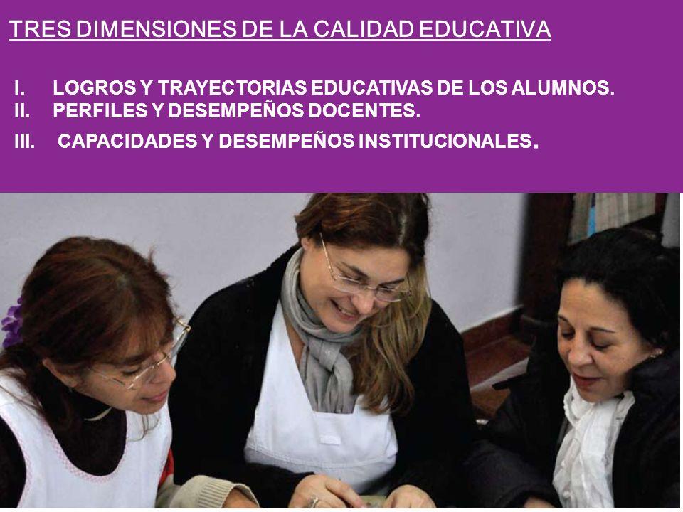 I.LOGROS Y TRAYECTORIAS EDUCATIVAS DE LOS ALUMNOS. II.PERFILES Y DESEMPEÑOS DOCENTES. III. CAPACIDADES Y DESEMPEÑOS INSTITUCIONALES. TRES DIMENSIONES