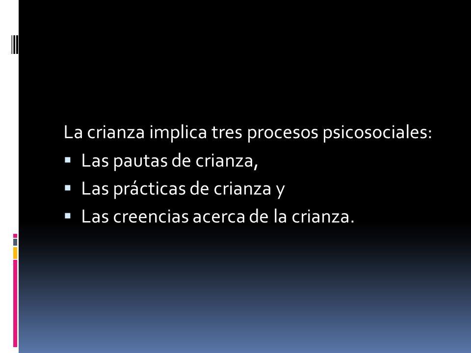 La crianza implica tres procesos psicosociales: Las pautas de crianza, Las prácticas de crianza y Las creencias acerca de la crianza.
