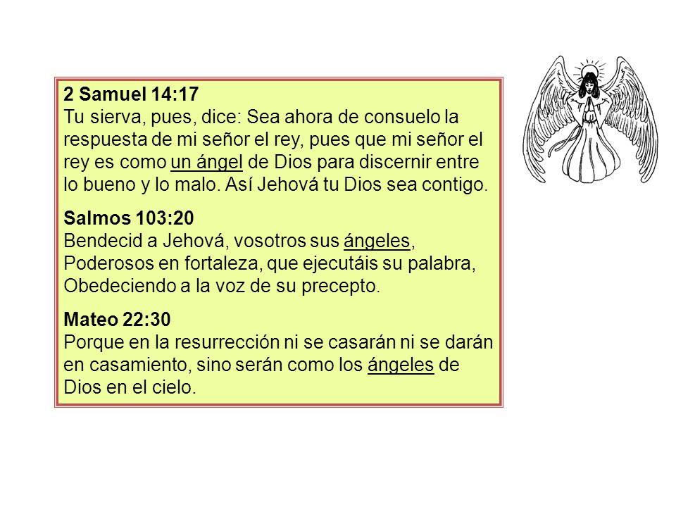 2 Samuel 14:17 Tu sierva, pues, dice: Sea ahora de consuelo la respuesta de mi señor el rey, pues que mi señor el rey es como un ángel de Dios para di