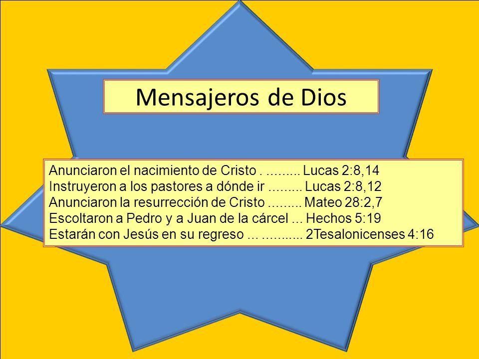 Anunciaron el nacimiento de Cristo.......... Lucas 2:8,14 Instruyeron a los pastores a dónde ir......... Lucas 2:8,12 Anunciaron la resurrección de Cr