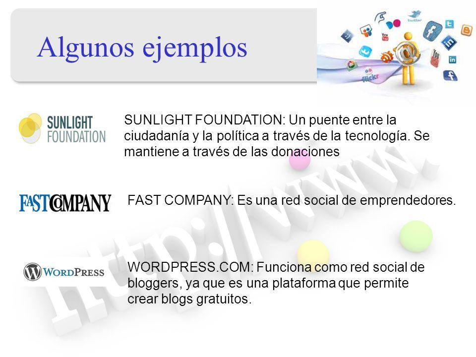 Algunos ejemplos SUNLIGHT FOUNDATION: Un puente entre la ciudadanía y la política a través de la tecnología. Se mantiene a través de las donaciones FA