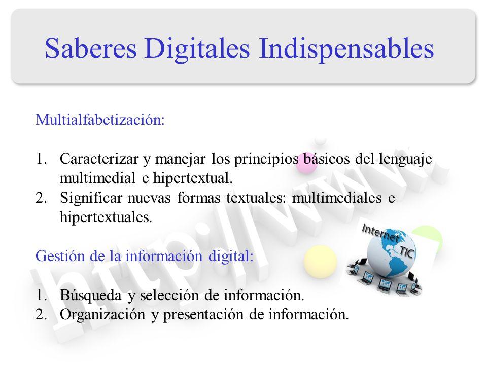 Saberes Digitales Indispensables Multialfabetización: 1.Caracterizar y manejar los principios básicos del lenguaje multimedial e hipertextual. 2.Signi