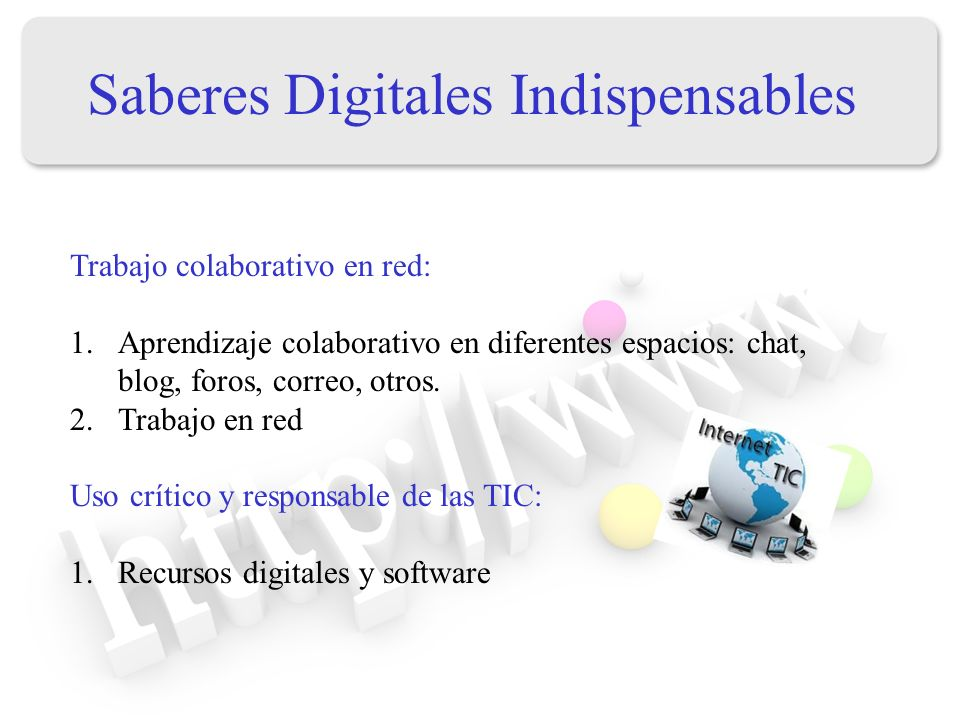 Saberes Digitales Indispensables Trabajo colaborativo en red: 1.Aprendizaje colaborativo en diferentes espacios: chat, blog, foros, correo, otros. 2.T