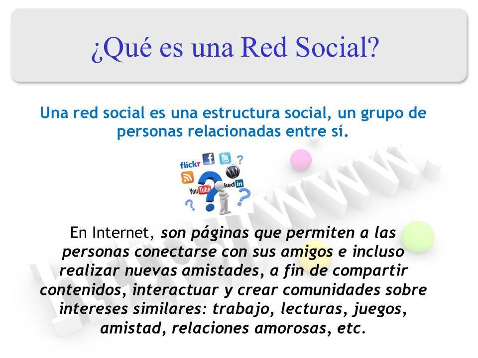 ¿Qué es una Red Social? Una red social es una estructura social, un grupo de personas relacionadas entre sí. En Internet, son páginas que permiten a l