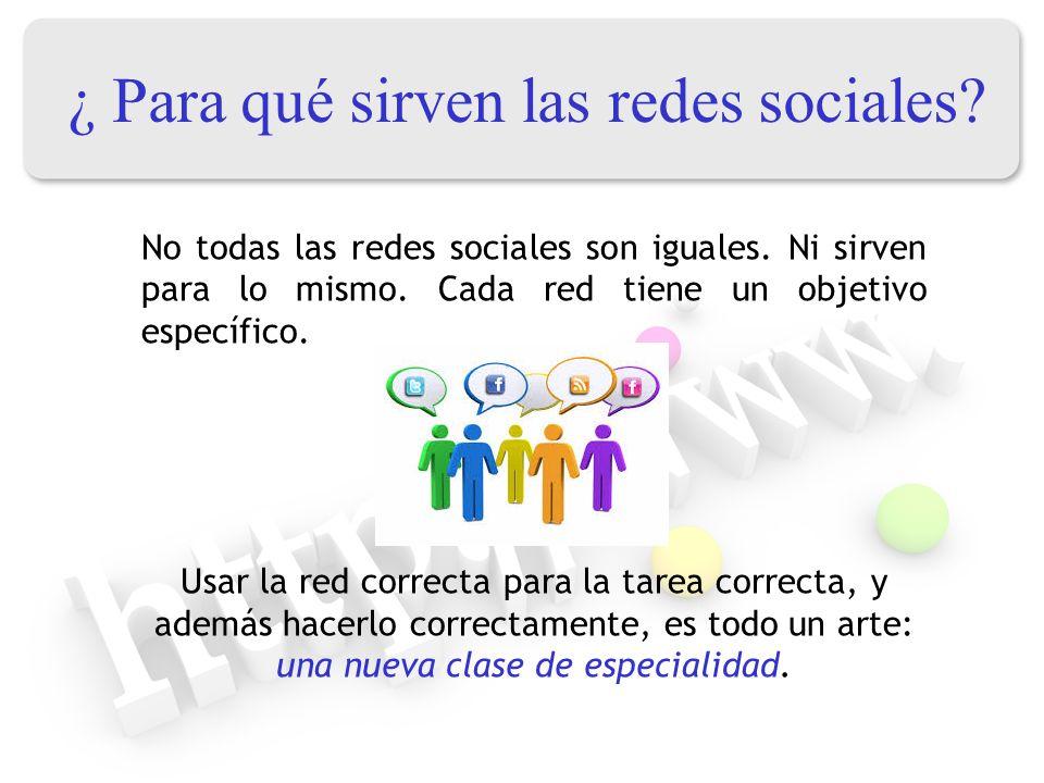 ¿ Para qué sirven las redes sociales? No todas las redes sociales son iguales. Ni sirven para lo mismo. Cada red tiene un objetivo específico. Usar la