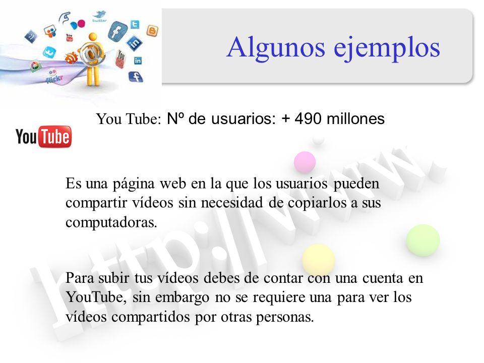 Algunos ejemplos Flichr: Nº de usuarios : 51 millones Es un sitio web donde los miembros de la comunidad pueden almacenar, compartir y opinar sobre fotos y videos.
