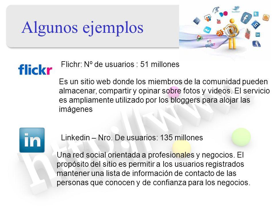 Algunos ejemplos Flichr: Nº de usuarios : 51 millones Es un sitio web donde los miembros de la comunidad pueden almacenar, compartir y opinar sobre fo