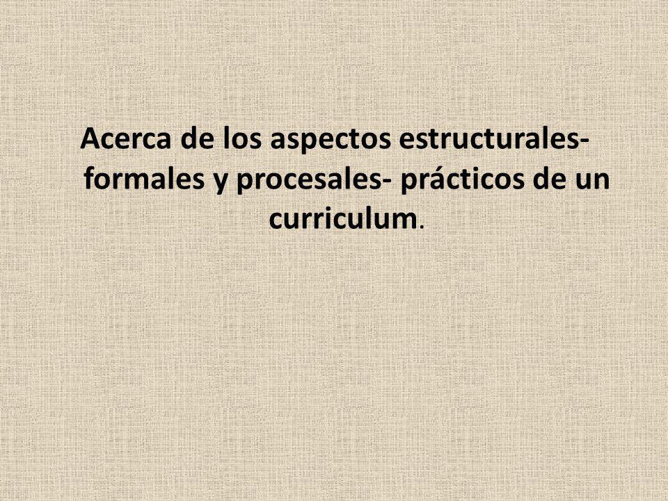 Acerca de los aspectos estructurales- formales y procesales- prácticos de un curriculum.