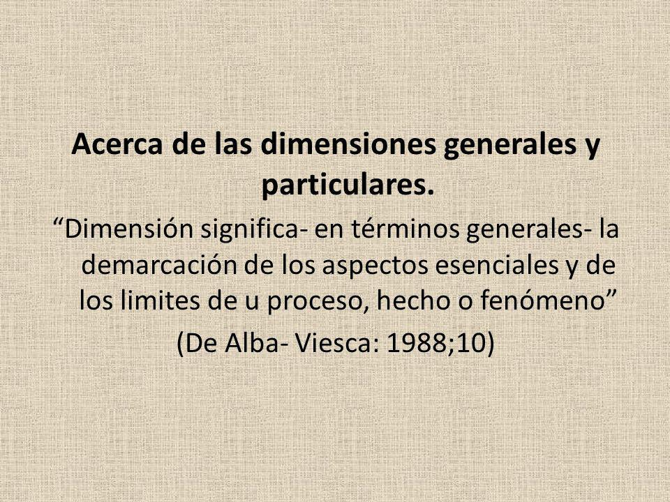 Acerca de las dimensiones generales y particulares. Dimensión significa- en términos generales- la demarcación de los aspectos esenciales y de los lim