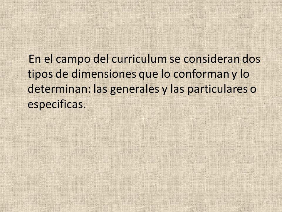 En el campo del curriculum se consideran dos tipos de dimensiones que lo conforman y lo determinan: las generales y las particulares o especificas.