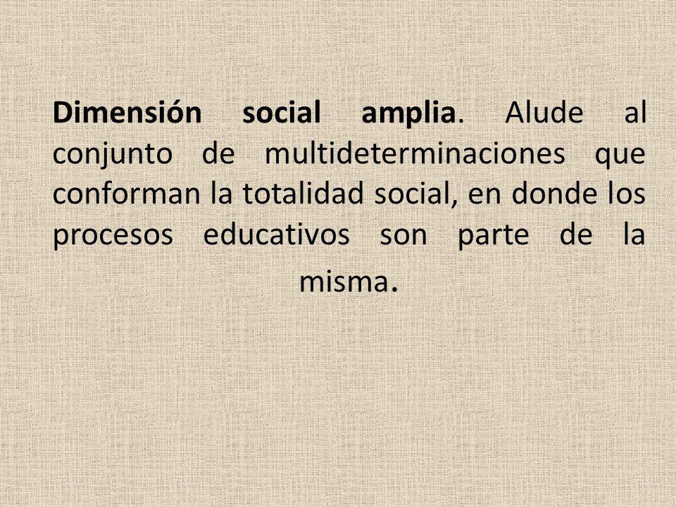 Dimensión social amplia. Alude al conjunto de multideterminaciones que conforman la totalidad social, en donde los procesos educativos son parte de la