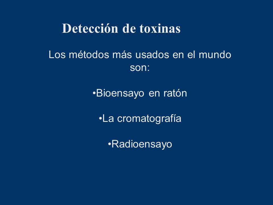 Detección de toxinas Los métodos más usados en el mundo son: Bioensayo en ratón La cromatografía Radioensayo