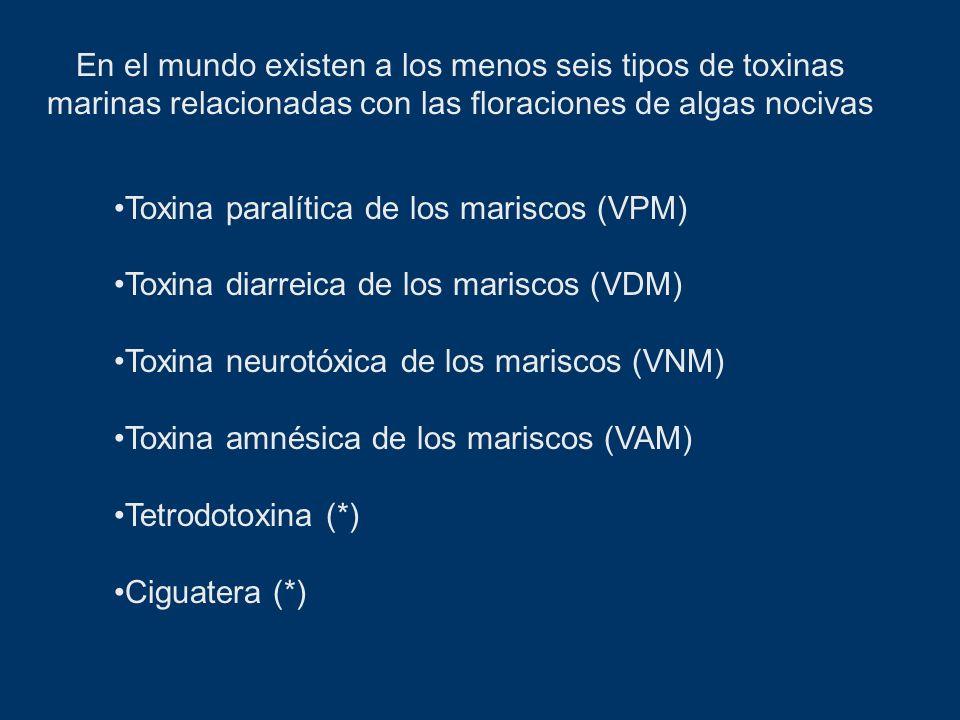 Toxina paralítica de los mariscos (VPM) Toxina diarreica de los mariscos (VDM) Toxina neurotóxica de los mariscos (VNM) Toxina amnésica de los marisco