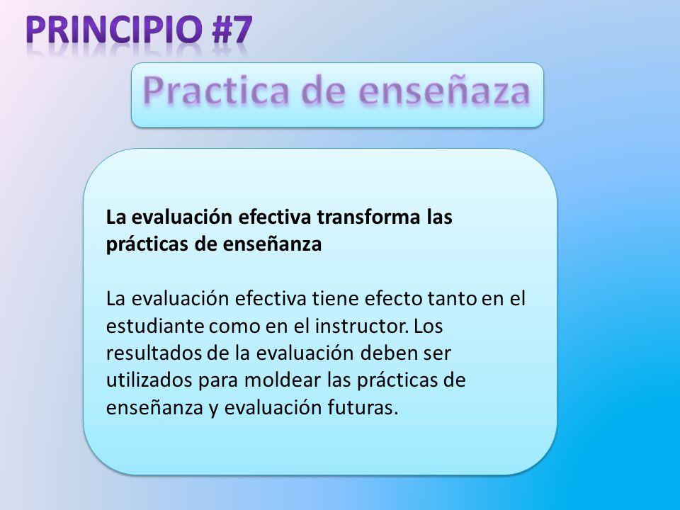 La evaluación efectiva transforma las prácticas de enseñanza La evaluación efectiva tiene efecto tanto en el estudiante como en el instructor.