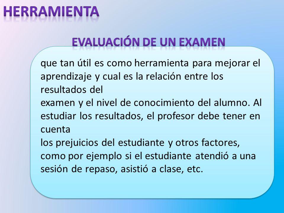 que tan útil es como herramienta para mejorar el aprendizaje y cual es la relación entre los resultados del examen y el nivel de conocimiento del alumno.