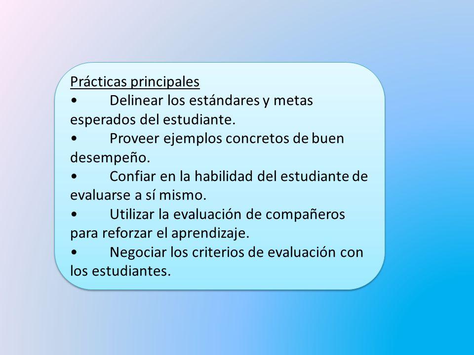 Prácticas principales Delinear los estándares y metas esperados del estudiante.