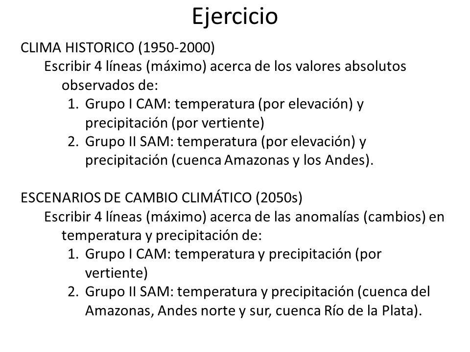 Ejercicio CLIMA HISTORICO (1950-2000) Escribir 4 líneas (máximo) acerca de los valores absolutos observados de: 1.Grupo I CAM: temperatura (por elevac