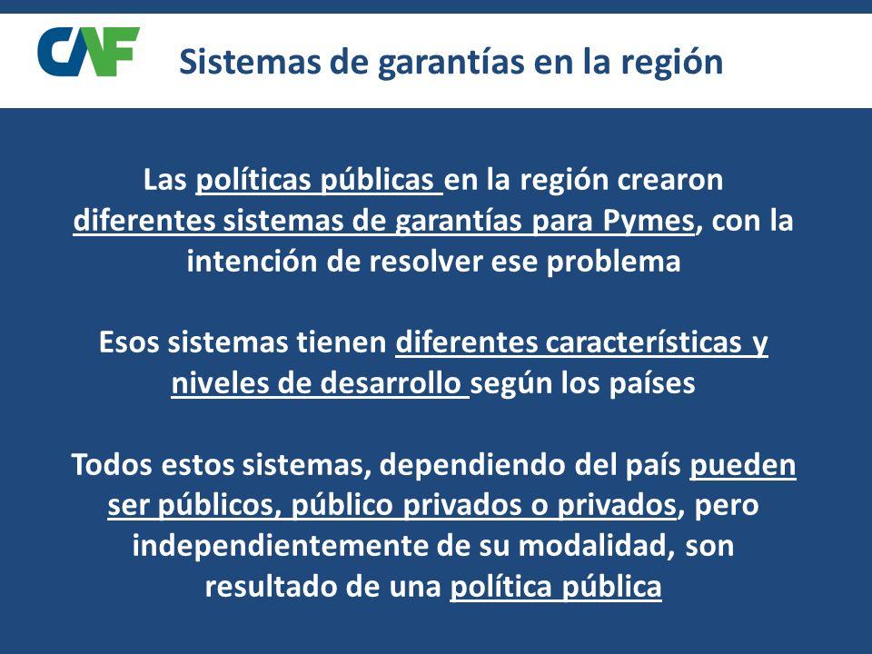 Las políticas públicas en la región crearon diferentes sistemas de garantías para Pymes, con la intención de resolver ese problema Esos sistemas tienen diferentes características y niveles de desarrollo según los países Todos estos sistemas, dependiendo del país pueden ser públicos, público privados o privados, pero independientemente de su modalidad, son resultado de una política pública Sistemas de garantías en la región