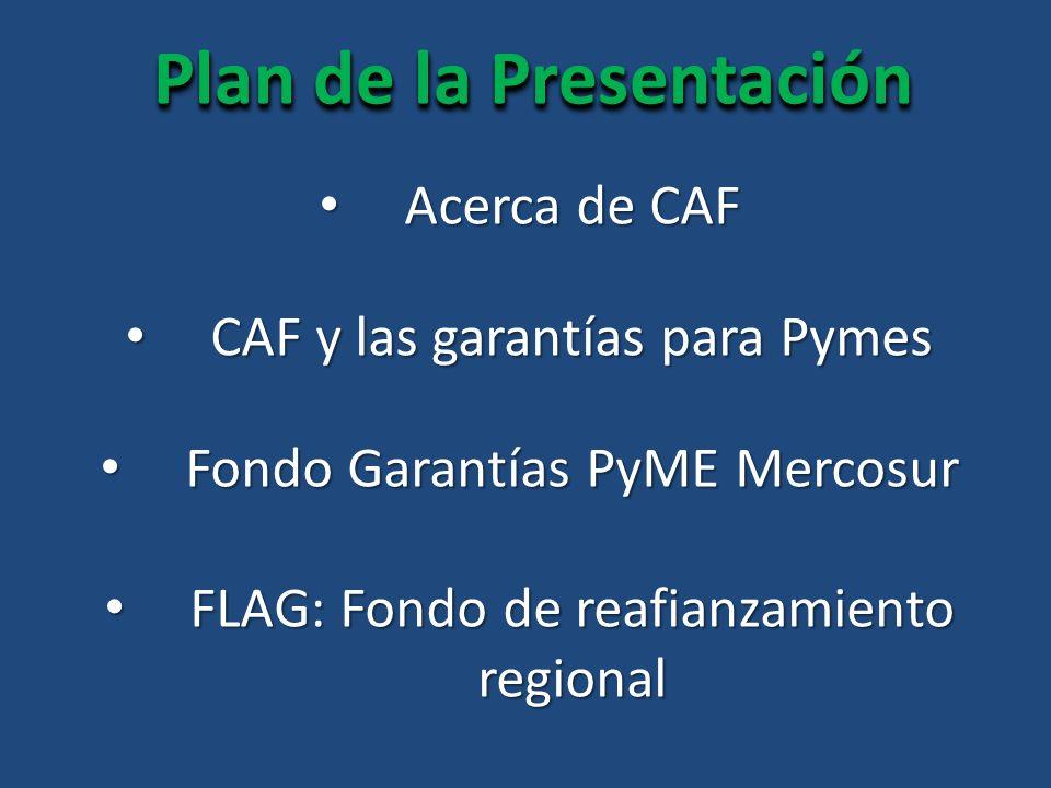 Acerca de CAF Acerca de CAF FLAG: Fondo de reafianzamiento regional FLAG: Fondo de reafianzamiento regional CAF y las garantías para Pymes CAF y las garantías para Pymes Fondo Garantías PyME Mercosur Fondo Garantías PyME Mercosur Plan de la Presentación