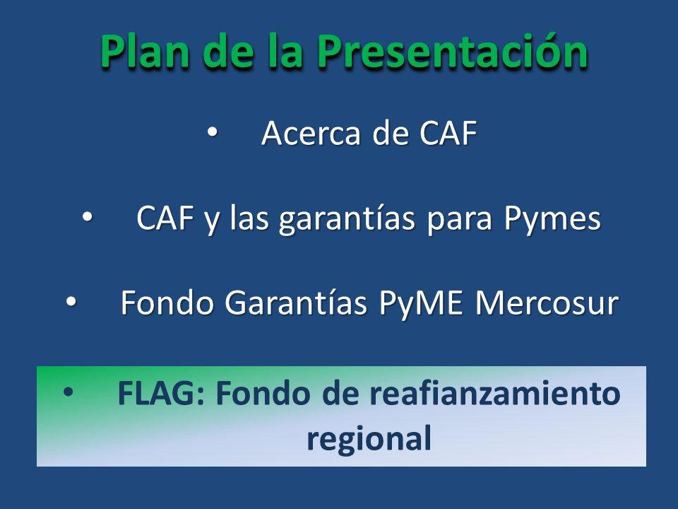 Plan de la Presentación Acerca de CAF Acerca de CAF FLAG: Fondo de reafianzamiento regional CAF y las garantías para Pymes CAF y las garantías para Pymes Fondo Garantías PyME Mercosur Fondo Garantías PyME Mercosur