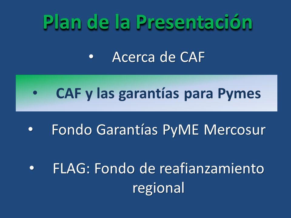 Plan de la Presentación Acerca de CAF Acerca de CAF FLAG: Fondo de reafianzamiento regional FLAG: Fondo de reafianzamiento regional CAF y las garantías para Pymes Fondo Garantías PyME Mercosur Fondo Garantías PyME Mercosur