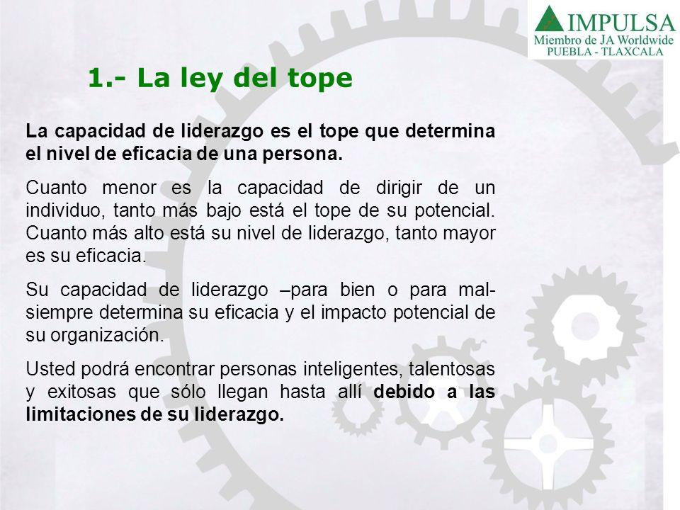 1.- La ley del tope La capacidad de liderazgo es el tope que determina el nivel de eficacia de una persona. Cuanto menor es la capacidad de dirigir de