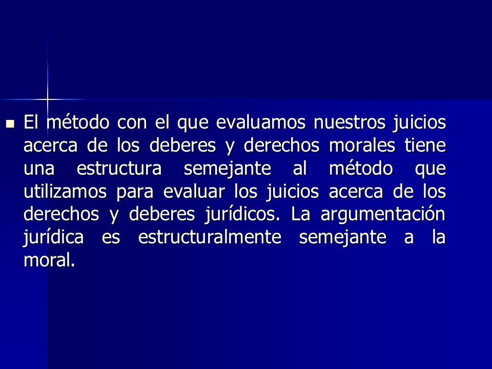I.Semejanzas estructurales entre la argumentación en el ámbito moral y el jurídico.