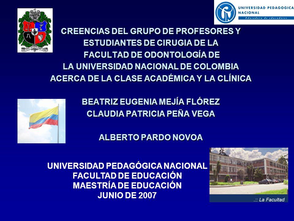 CREENCIAS DEL GRUPO DE PROFESORES Y ESTUDIANTES DE CIRUGIA DE LA FACULTAD DE ODONTOLOGÍA DE FACULTAD DE ODONTOLOGÍA DE LA UNIVERSIDAD NACIONAL DE COLOMBIA ACERCA DE LA CLASE ACADÉMICA Y LA CLÍNICA BEATRIZ EUGENIA MEJÍA FLÓREZ CLAUDIA PATRICIA PEÑA VEGA ALBERTO PARDO NOVOA UNIVERSIDAD PEDAGÓGICA NACIONAL FACULTAD DE EDUCACIÓN MAESTRÍA DE EDUCACIÓN JUNIO DE 2007