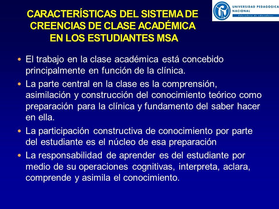 El trabajo en la clase académica está concebido principalmente en función de la clínica.