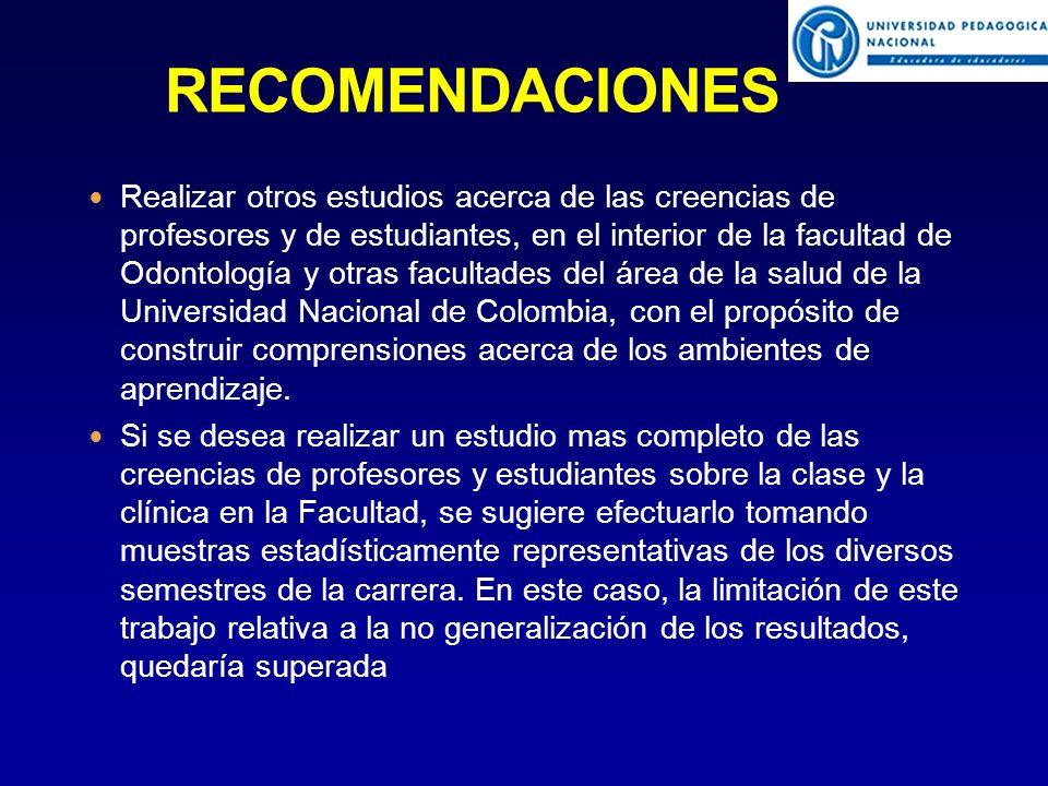 Realizar otros estudios acerca de las creencias de profesores y de estudiantes, en el interior de la facultad de Odontología y otras facultades del área de la salud de la Universidad Nacional de Colombia, con el propósito de construir comprensiones acerca de los ambientes de aprendizaje.