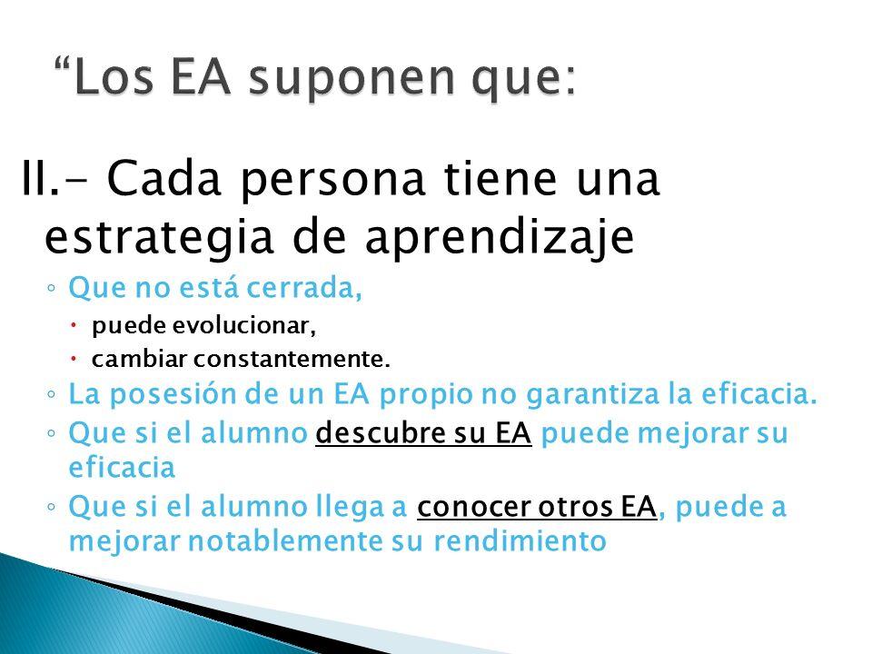 II.- Cada persona tiene una estrategia de aprendizaje Que no está cerrada, puede evolucionar, cambiar constantemente.
