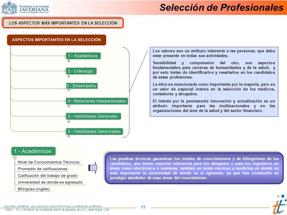 Info203 – PUJ – Percepción de empleadores acerca de egresados de la PUJ sedes Bogotá y Cali Documento confidencial, para uso exclusivo de la PONTIFICIA UNIVERSIDAD JAVERIANA 11 Selección de Profesionales LOS ASPECTOS MÁS IMPORTANTES EN LA SELECCIÓN Los valores son un atributo inherente a las personas, que debe estar presente en todas sus actividades.