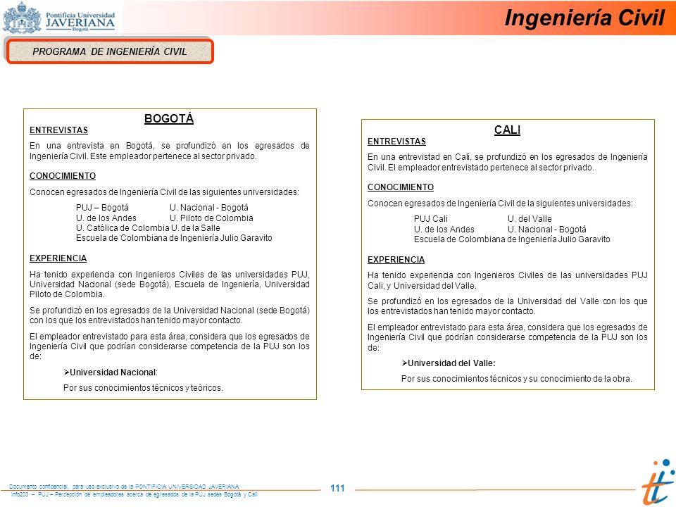 Info203 – PUJ – Percepción de empleadores acerca de egresados de la PUJ sedes Bogotá y Cali Documento confidencial, para uso exclusivo de la PONTIFICIA UNIVERSIDAD JAVERIANA 111 Ingeniería Civil PROGRAMA DE INGENIERÍA CIVIL BOGOTÁ ENTREVISTAS En una entrevista en Bogotá, se profundizó en los egresados de Ingeniería Civil.