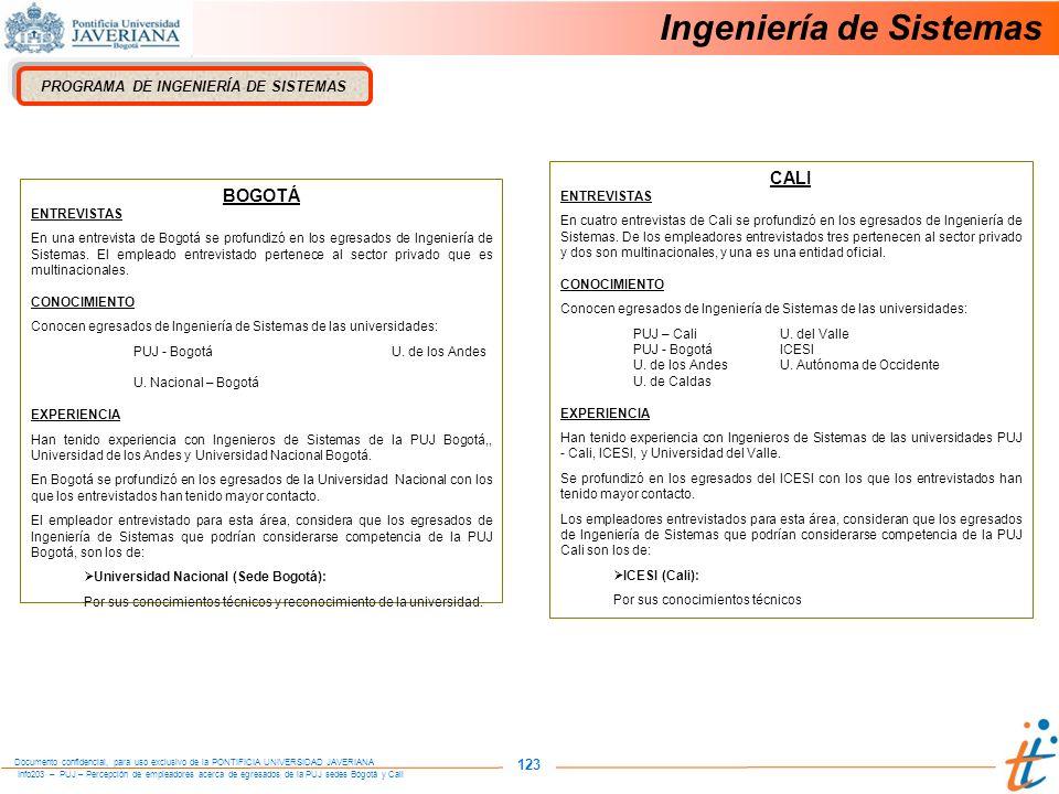 Info203 – PUJ – Percepción de empleadores acerca de egresados de la PUJ sedes Bogotá y Cali Documento confidencial, para uso exclusivo de la PONTIFICIA UNIVERSIDAD JAVERIANA 123 PROGRAMA DE INGENIERÍA DE SISTEMAS BOGOTÁ ENTREVISTAS En una entrevista de Bogotá se profundizó en los egresados de Ingeniería de Sistemas.