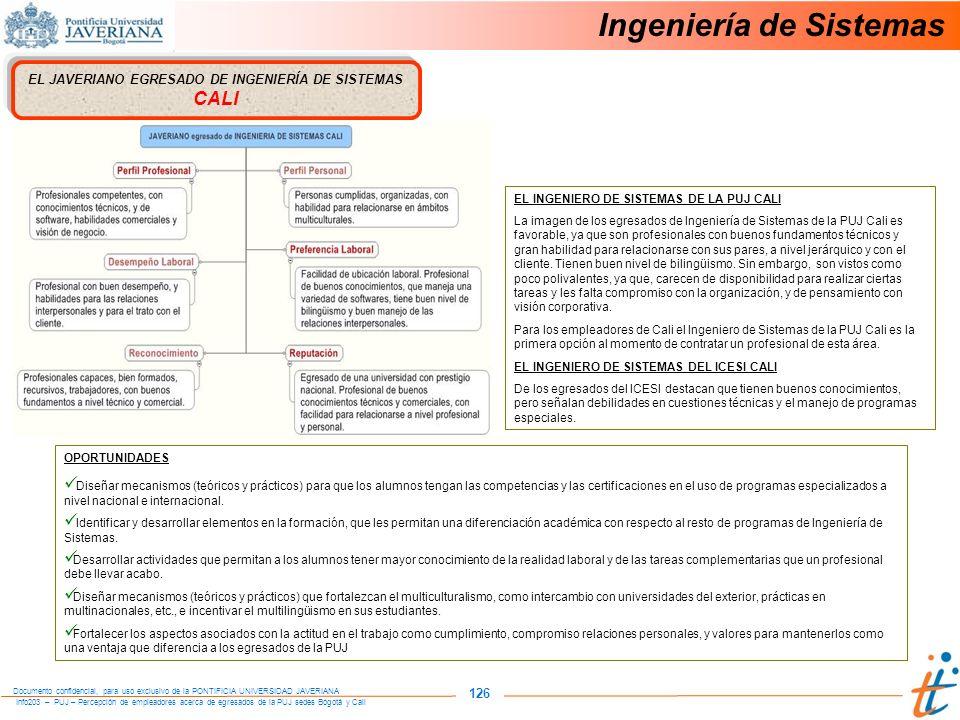 Info203 – PUJ – Percepción de empleadores acerca de egresados de la PUJ sedes Bogotá y Cali Documento confidencial, para uso exclusivo de la PONTIFICIA UNIVERSIDAD JAVERIANA 126 Ingeniería de Sistemas EL JAVERIANO EGRESADO DE INGENIERÍA DE SISTEMAS CALI OPORTUNIDADES Diseñar mecanismos (teóricos y prácticos) para que los alumnos tengan las competencias y las certificaciones en el uso de programas especializados a nivel nacional e internacional.