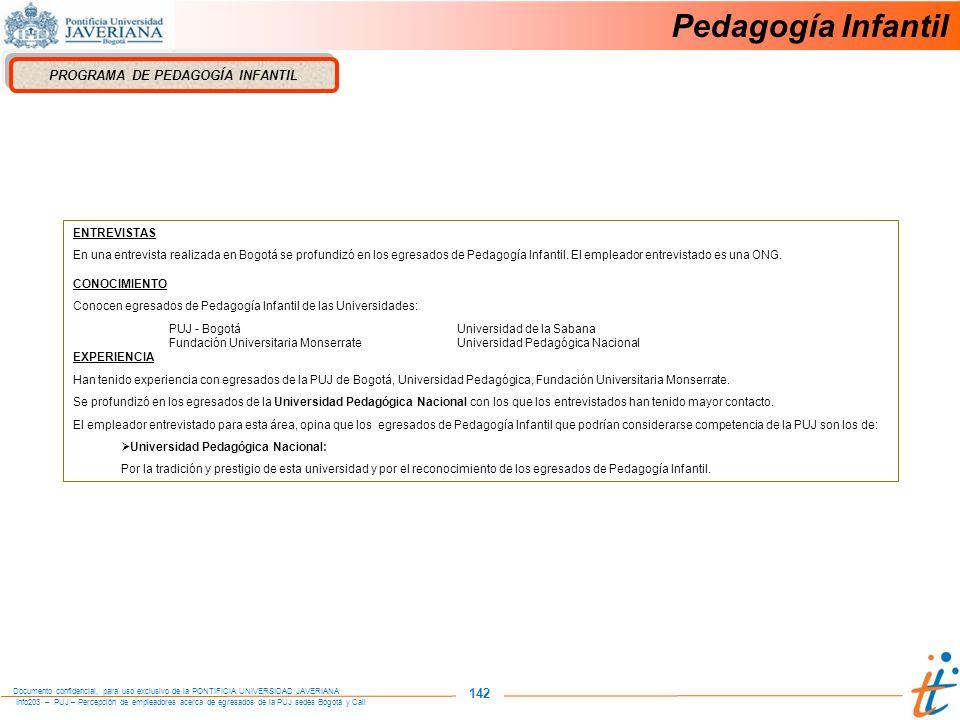 Info203 – PUJ – Percepción de empleadores acerca de egresados de la PUJ sedes Bogotá y Cali Documento confidencial, para uso exclusivo de la PONTIFICIA UNIVERSIDAD JAVERIANA 142 PROGRAMA DE PEDAGOGÍA INFANTIL ENTREVISTAS En una entrevista realizada en Bogotá se profundizó en los egresados de Pedagogía Infantil.