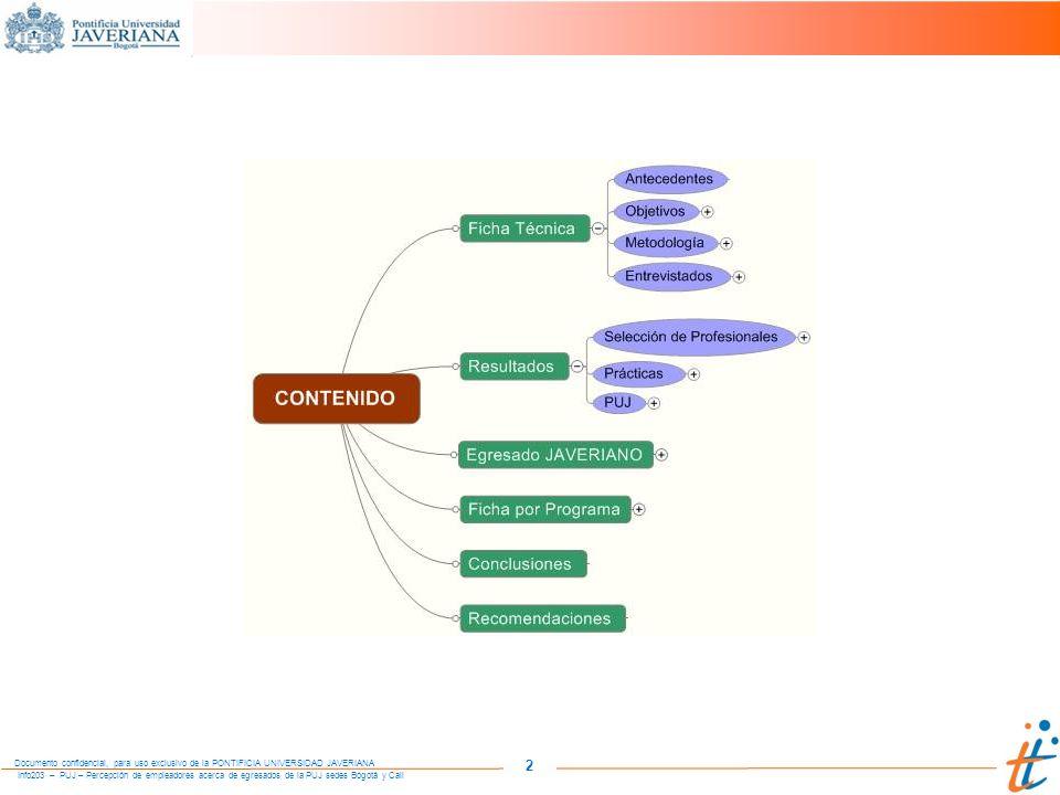 Info203 – PUJ – Percepción de empleadores acerca de egresados de la PUJ sedes Bogotá y Cali Documento confidencial, para uso exclusivo de la PONTIFICIA UNIVERSIDAD JAVERIANA 103 COMPETENCIAS DE UN PROFESIONAL EN ESTUDIOS MUSICALES VARIABLES PUJNacional ACADÉMICOS Conocimientos académicos / técnicos Capacidad técnica Formación hacia trabajo en grupo / orquesta Práctica / experiencia en pregrado Prácticas de grupo / orquesta Importancia / valor de su profesión HABILIDADES / COMPETENCIAS Habilidades de comunicación Elaboración de informes gramática / ortografía ACTITUD Con vocación / compromiso Trabajo en orquesta / grupo / equipo Relaciones / interpersonales / calidad humana Disciplina / cumplimiento COMPETENCIAS Además de los conocimientos y capacidad técnica, es importante la actitud del profesional y su disposición para trabajar en grupo, pues las universidades están formando profesionales para ser solistas, pero la realidad de la oferta laboral es para trabajar en grupos.