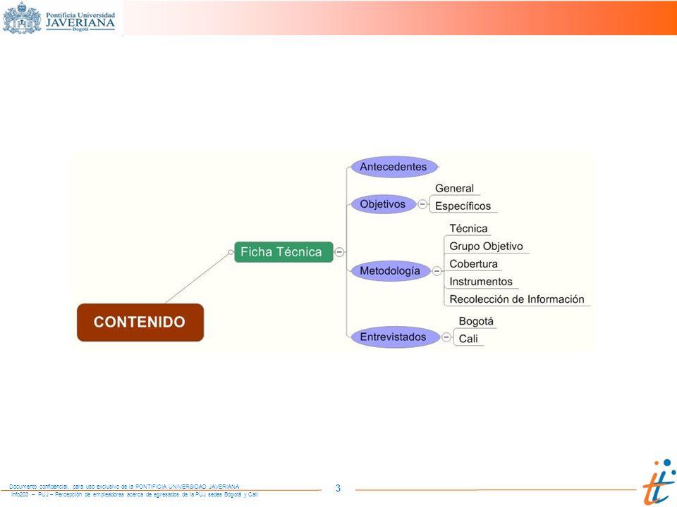 Info203 – PUJ – Percepción de empleadores acerca de egresados de la PUJ sedes Bogotá y Cali Documento confidencial, para uso exclusivo de la PONTIFICIA UNIVERSIDAD JAVERIANA 24 DEBILIDADES Prácticas La deficiente información respecto a los propósitos de la práctica, o del tipo de organización, las actividades que desarrolla y las condiciones de la práctica, o la actitud y debilidades del estudiante para desenvolverse en un ambiente laboral, son las principales dificultades y razones para el fracaso de la práctica.