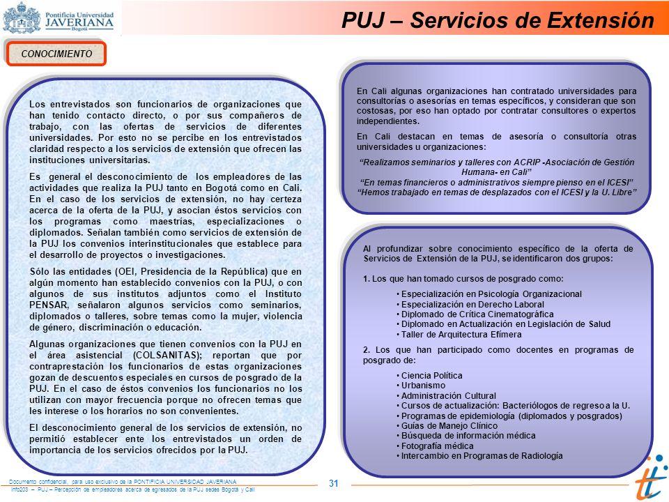 Info203 – PUJ – Percepción de empleadores acerca de egresados de la PUJ sedes Bogotá y Cali Documento confidencial, para uso exclusivo de la PONTIFICIA UNIVERSIDAD JAVERIANA 31 PUJ – Servicios de Extensión CONOCIMIENTO Los entrevistados son funcionarios de organizaciones que han tenido contacto directo, o por sus compañeros de trabajo, con las ofertas de servicios de diferentes universidades.
