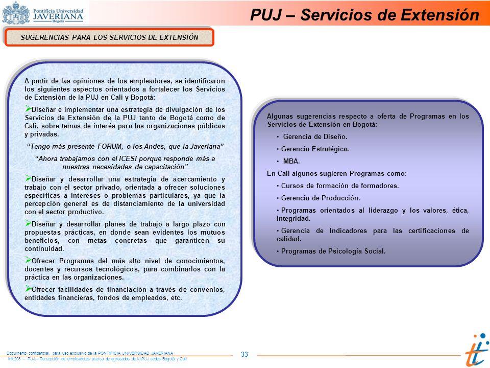 Info203 – PUJ – Percepción de empleadores acerca de egresados de la PUJ sedes Bogotá y Cali Documento confidencial, para uso exclusivo de la PONTIFICIA UNIVERSIDAD JAVERIANA 33 PUJ – Servicios de Extensión SUGERENCIAS PARA LOS SERVICIOS DE EXTENSIÓN Algunas sugerencias respecto a oferta de Programas en los Servicios de Extensión en Bogotá: Gerencia de Diseño.