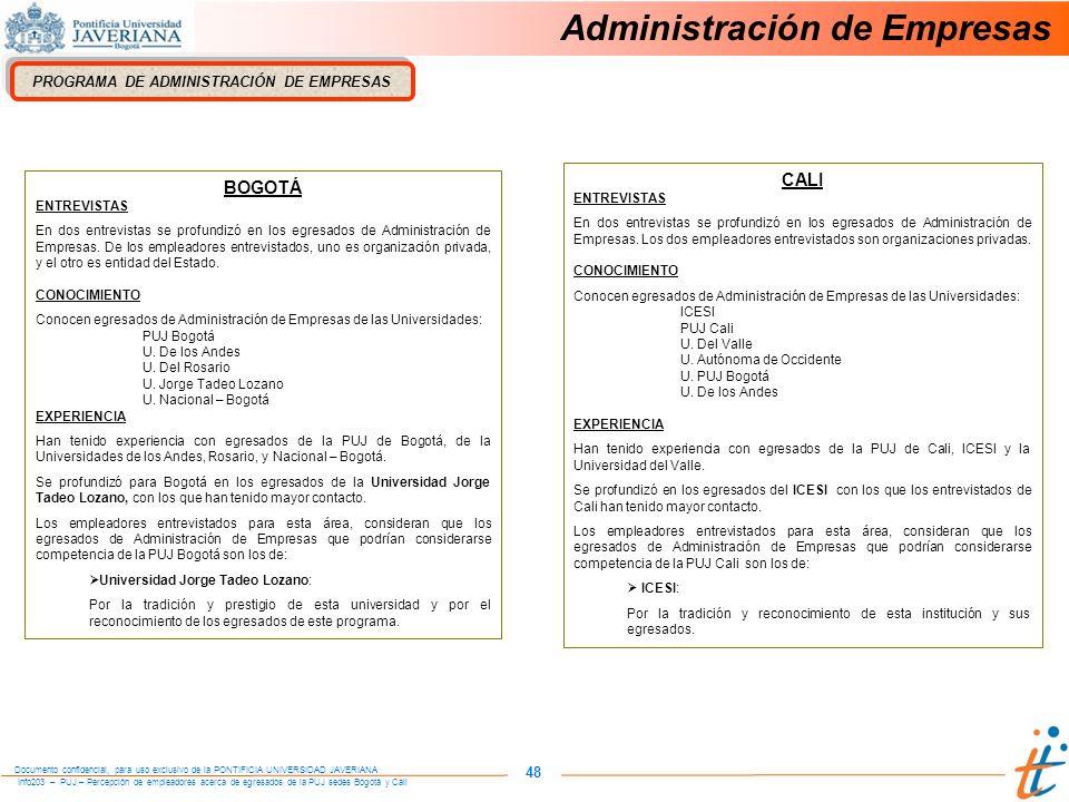 Info203 – PUJ – Percepción de empleadores acerca de egresados de la PUJ sedes Bogotá y Cali Documento confidencial, para uso exclusivo de la PONTIFICIA UNIVERSIDAD JAVERIANA 48 PROGRAMA DE ADMINISTRACIÓN DE EMPRESAS BOGOTÁ ENTREVISTAS En dos entrevistas se profundizó en los egresados de Administración de Empresas.