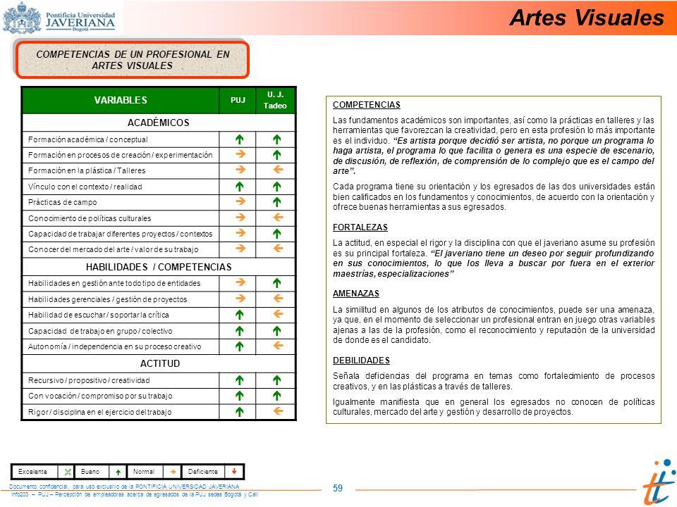 Info203 – PUJ – Percepción de empleadores acerca de egresados de la PUJ sedes Bogotá y Cali Documento confidencial, para uso exclusivo de la PONTIFICIA UNIVERSIDAD JAVERIANA 59 COMPETENCIAS DE UN PROFESIONAL EN ARTES VISUALES VARIABLES PUJ U.