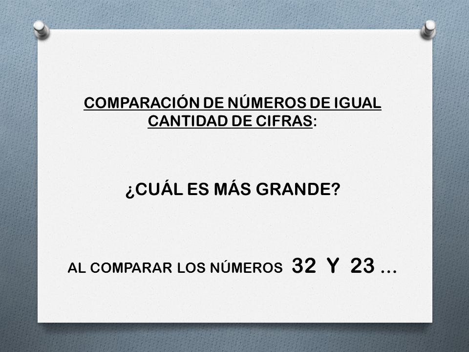 COMPARACIÓN DE NÚMEROS DE IGUAL CANTIDAD DE CIFRAS: ¿CUÁL ES MÁS GRANDE? AL COMPARAR LOS NÚMEROS 32 Y 23 …